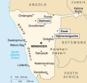 Namibia map depicting Oshivelo and the region that the Catherine Bullen Foundation works in